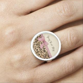 Arco de los rosas bebés del estampado leopardo del anillos con foto