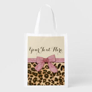 Arco de los rosas bebés del estampado leopardo del bolsas para la compra