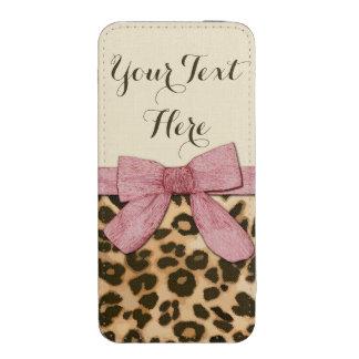 Arco de los rosas bebés del estampado leopardo del bolsillo para iPhone