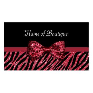 Arco de lujo del boutique del estampado de zebra tarjetas de visita
