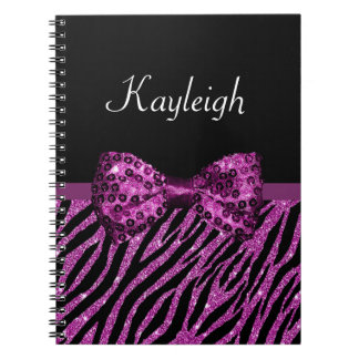 Arco de lujo del estampado de zebra púrpura libro de apuntes