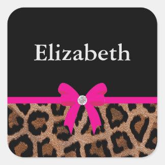 Arco de moda del leopardo de las rosas fuertes y pegatina cuadrada