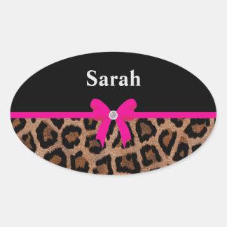 Arco de moda del leopardo de las rosas fuertes y pegatina ovalada