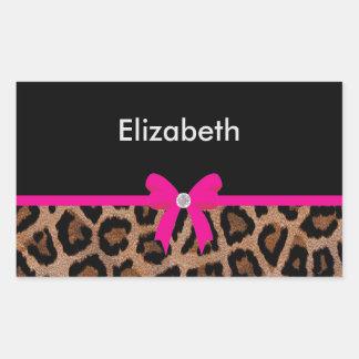 Arco de moda del leopardo de las rosas fuertes y pegatina rectangular