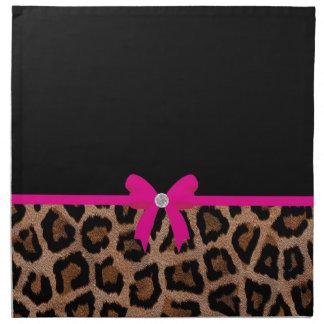 Arco de moda del leopardo de las rosas fuertes y servilletas de papel