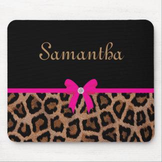 Arco de moda del leopardo de las rosas fuertes y tapetes de ratones