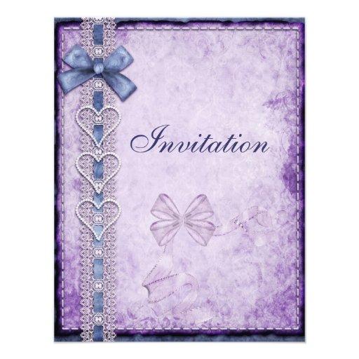 Arco de papel antiguo azul púrpura de la invitació