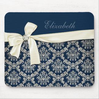Arco de plata azul elegante del diamante del damas alfombrillas de ratones