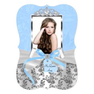 """Arco de plata azul elegante y foto color de rosa invitación 5"""" x 7"""""""