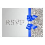 Arco de plata del azul real del diamante de las invitación 8,9 x 12,7 cm