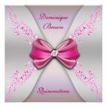 Arco de plata rosado elegante Quinceanera del diam Invitación