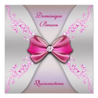 """Arco de plata rosado elegante Quinceanera del Invitación 5.25"""" X 5.25"""""""
