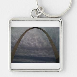 Arco de St. Louis Llavero Cuadrado Plateado