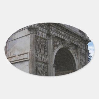 Arco de Trajan. Pegatina Ovalada