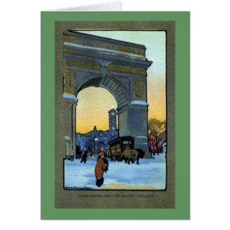 Arco de Washington en el crepúsculo del invierno Felicitación