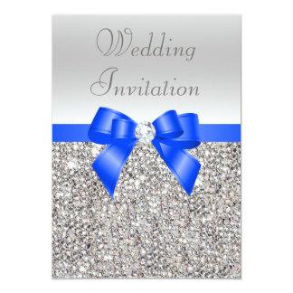 """Arco del azul real de las lentejuelas y boda de invitación 5"""" x 7"""""""