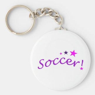 Arco del fútbol con las estrellas llavero redondo tipo pin