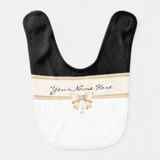 Arco del melocotón con el diamante en blanco y babero de bebé