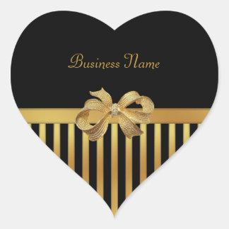 Arco del oro de la raya negra del oro del corazón pegatina en forma de corazón