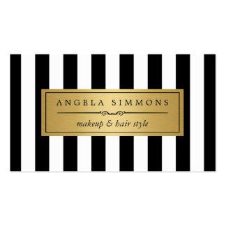 Arco del oro del artista de maquillaje y rayas tarjetas de visita