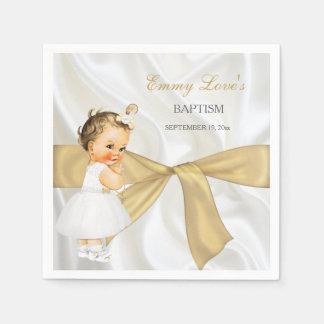 Arco del oro del bautizo del bautismo de la niña servilleta desechable