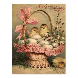 Arco del rosa del polluelo del huevo de la cesta d tarjeta postal