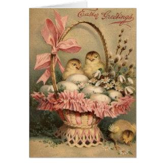Arco del rosa del polluelo del huevo de la cesta d tarjeta de felicitación