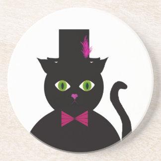 Arco del rosa del sombrero de copa del gato negro posavasos diseño