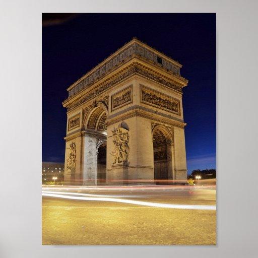 Arco del Triunfo en la noche Póster