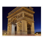 Arco del Triunfo en la noche Tarjeta Postal