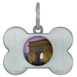 Arco del Triunfo en la oscuridad París Francia Placa De Mascota