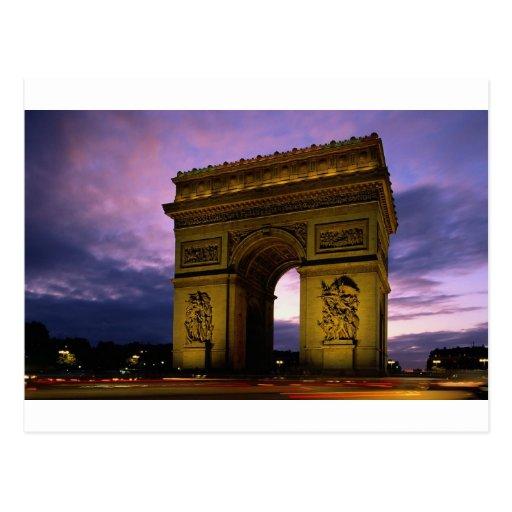 Arco del Triunfo en la oscuridad, París, Francia Tarjetas Postales