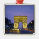 Arco del Triunfo, París, Francia, Adorno Navideño Cuadrado De Metal