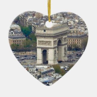 Arco del Triunfo París Francia Adorno Navideño De Cerámica En Forma De Corazón