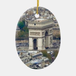 Arco del Triunfo París Francia Adorno Navideño Ovalado De Cerámica