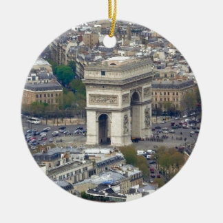 Arco del Triunfo París Francia Adorno Navideño Redondo De Cerámica