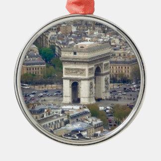 Arco del Triunfo París Francia Adorno Navideño Redondo De Metal