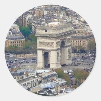 Arco del Triunfo París Francia Pegatina Redonda