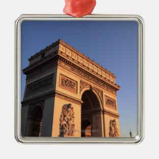 ARCO DEL TRIUNFO y torre Eiffel Adorno Cuadrado Plateado