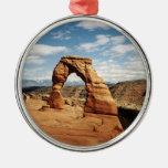 Arco delicado, arcos parque nacional, Utah Adorno Navideño Redondo De Metal