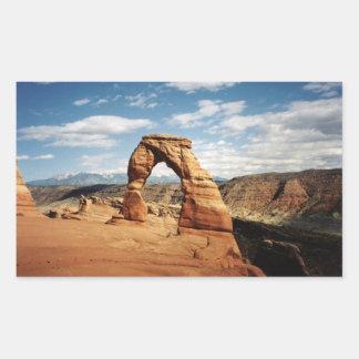 Arco delicado, arcos parque nacional, Utah Rectangular Pegatina
