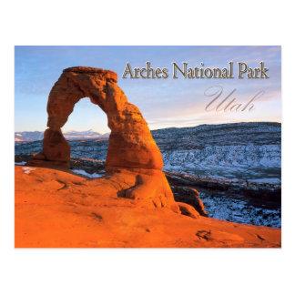 Arco delicado, arcos parque nacional, Utah Postal