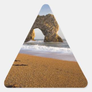 Arco Dorset Inglaterra de la roca de la puerta de Pegatina Triangular