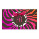 arco dulce de la cebra del chocolate de la puesta  tarjetas de negocios
