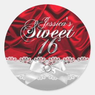 Arco elegante de la perla y pegatina de seda rojo