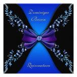Arco elegante del diamante del azul real invitaciones personales