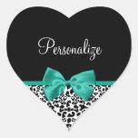 Arco elegante del verde esmeralda del estampado le pegatinas de corazon personalizadas