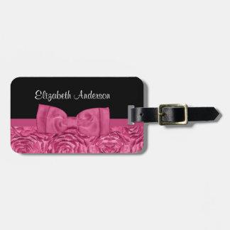 Arco elegante floral color de rosa rosado y negro  etiquetas para maletas