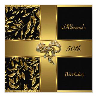 """Arco floral 2 del 50.o oro negro elegante del invitación 5.25"""" x 5.25"""""""