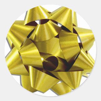 Arco grande del navidad del oro etiquetas